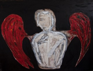 angel, 2009  200x100cm, mixed media on canvas