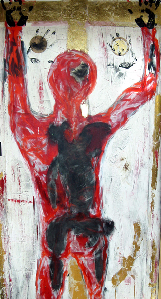 x2003 - holding on..., 2003  100x200cm, mixed media on canvas